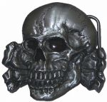 Totenkopf Skull and Crossbones Belt Buckle with display stand. Product Code: MK6